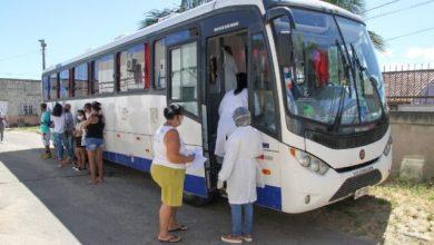 Foto de Covid: Ônibus itinerante em Travessão nesta terça
